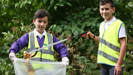 Wilshere-Dacre pupils William Yousif and Ashley Baxter, both 10 take part in selfless acts for the c