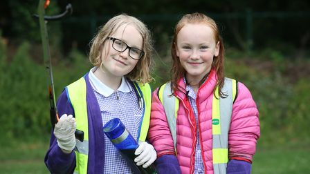 Wilshere-Dacre pupils Vita Russell and Jessica Howell, both 10 take part in selfless acts for the co