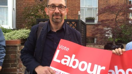 Labour's John Hayes on the campaign trail in Hitchin last month. Credit: Layth Yousif