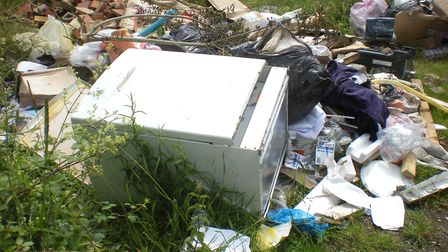 Rubbish dumped on Farmland off Eltisley Road in Great Gransden, Cambs.