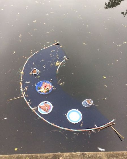 The artwork, which was thrown into the River Hiz in Hitchin by vandals.