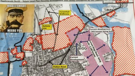 A map showing the sites that have been put forward for possible development in Biggleswade (shaded i