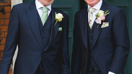 Brett Dingwall, left, and Paul Rogers, ahead of Mr Rogers' wedding to Laura on Saturday, June 10. Pi