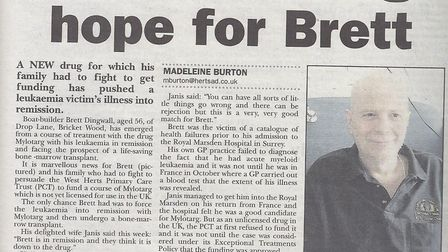A Herts Advertiser story about Brett Dingwall's fight for life from February 2007. Picture: ARCHANT