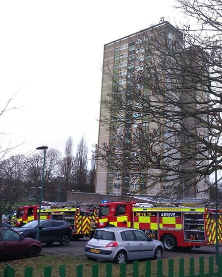 Firefighters at the scene of a recent small fire at Harrow Court in Stevenage.
