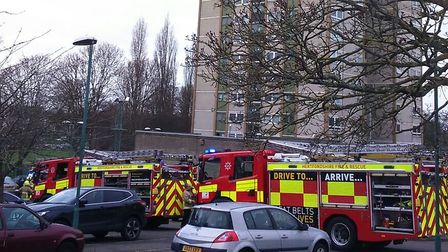 Firefighters at the scene of a small fire at Harrow Court in Stevenage earlier this year.