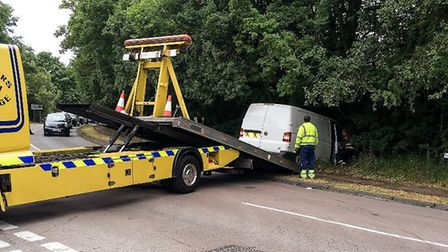 The van is recovered after going into the trees at the T-junction in Norton Road, between Baldock an