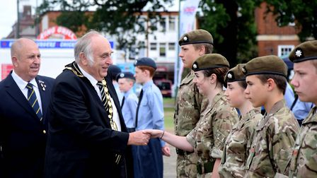 Councillor Alan Millard, chairman of North Herts District Council, inspects Army Cadets on Armed For
