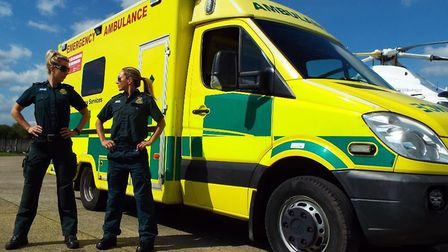 Paramedics Sarah Ford and Emma-Louise Bowen Hillson pulled an ambulance to launch an initiative to p