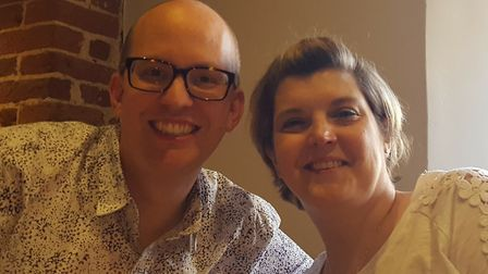 Cancer fundraiser Julia Lawley and her husband Ross. Picture: Julia Lawley