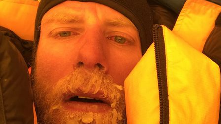 James in the tent following his ascent. Pic: James Brooman