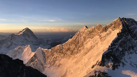 Sunrise from just below the Balcony on Eversest at 8,350m