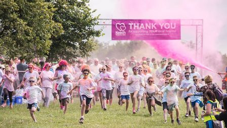Runners set off for the 2016 Keech Hospice Care Colour Dash. Picture: Keech Hospice Care