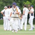 Phil Caley walking off as Knebworth celebrate another wicket. Picture: Karyn Haddon
