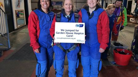 The team from LV= in Hitchin after the jump. Picture: Garden House Hospice Care