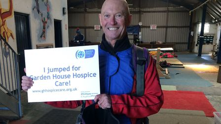 Hospice trustee Steve Mellish after his jump. Picture: Garden House Hospice Care