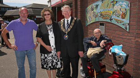 Artist Oliver Budd, Mayor of Sandy cllr Colin and mayoress Dianne Osborne and a local resident with