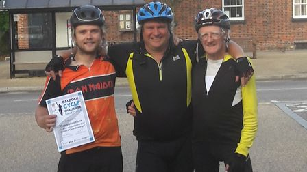 Baldock Cycle Challenge rider Ray Parry, right, with his son Darryl and grandson Jake. Ray, 83, was