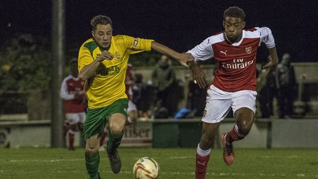 Former Hitchin Town defender Kane Smith during the 1-1 draw at Top Field last season. Photo: Peter E