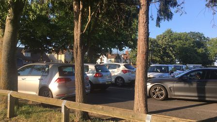 Parking chaos next to Butts Close before Hitchin Town v Luton Town. Picture Layth Yousif