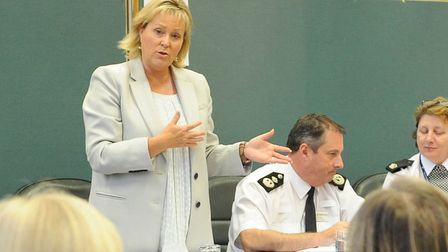 Bedfordshire Police and Crime Commissioner Kathryn Holloway addresses a public meeting at the Old Co