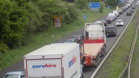 Heavy traffic on the A1(M) at Stevenage. Picture: John Francis