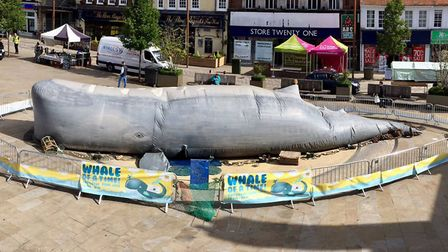 Letchworth Arts Takeover: The giant whale in the middle of town, pictured early in the morning while