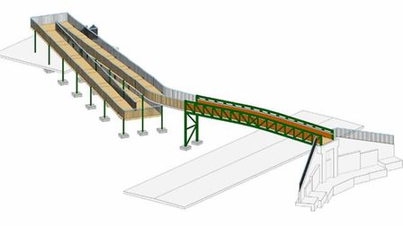 A drawing of how the bridge over the A507 at Arlesey might look, viewed from the east. Picture: Thom