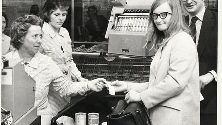 The opening day at Sainsbury's in Letchworth's Garden Square Shopping Centre in May 1974. Picture: G