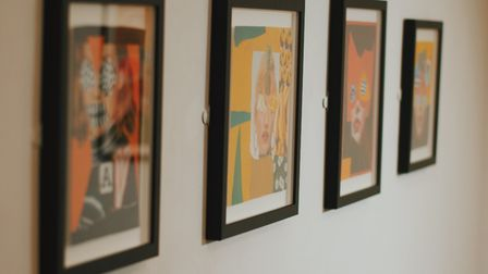 Callum's collage works at the gallery. Picture: Bradley Martin