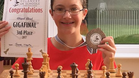 Letchworth's Abigail Lloyd with her third-place certificate from the southern gigafinal of the Delan
