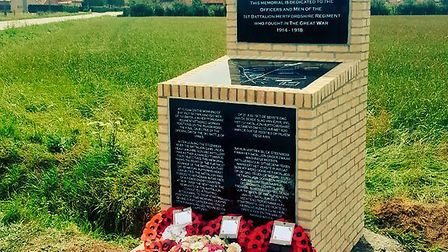The Hertfordshire Regiment memorial at St Julien in Belgium, on the field of the Third Battle of Ypr