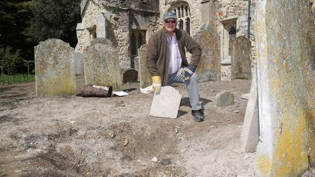 Caldecote Church Friends committee member Brian Munnery who discovered the opening to the unrecorded