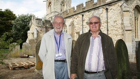 Caldecote Church Friends honorary president Peter Robbins and committee member Brian Munnery, who di