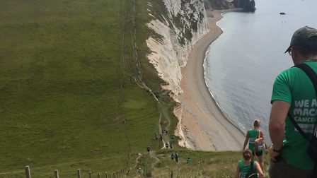 Stevenage couple Clare and Paul Wilkins during their hike along the Jurassic Coast for Macmillan Can