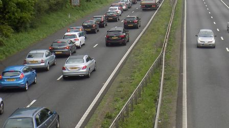 Heavy rush hour traffic on the A1(M) at Stevenage