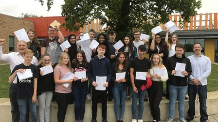 Students and staff at Stevenage's Nobel School celebrate their GCSE results. Back row: Joanna Le Fe