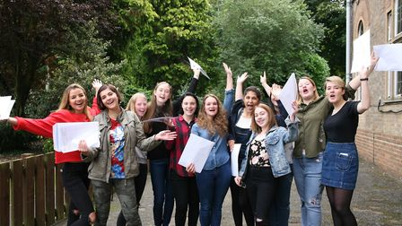 Girls at St Francis' College in Letchworth celebrate receiving their GCSE results. Picture: St Franc