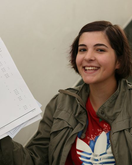 Alix Wentworth-Foster celebrates her GCSE results at St Francis' College in Letchworth. Picture: St