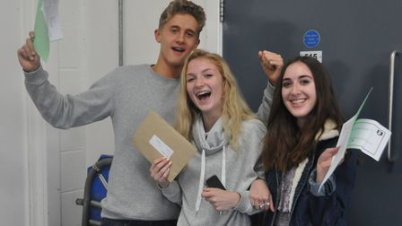 Samuel Whitbread students celebrate getting their GCSE results. Picture: Samuel Whitbread Academy