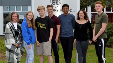 GCSE students celebrate receiving their results at Hitchin's Priory School. Picture: The Priory Scho