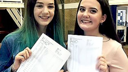 Libby Seymour and Lucy Godbeer from Thomas Alleyne Academy with their results.