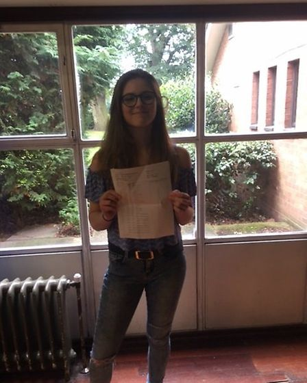 Thomas Alleyne student Alex Baranova with her results.
