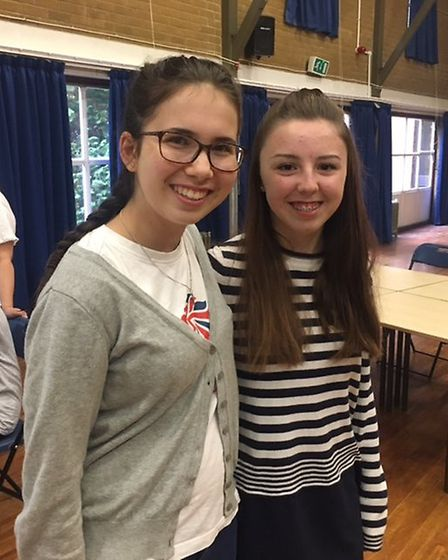 Esther Knell and Alivia Storton from Thomas Alleyne Academy.