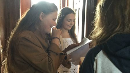 Anna Woodman and Katie Marlow look at their results. Picture: Princess Helena College