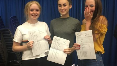 Jacinta Kelly, Maddie Hockey and Ellena Peat with their GCSE results. Picture: Barnwell School