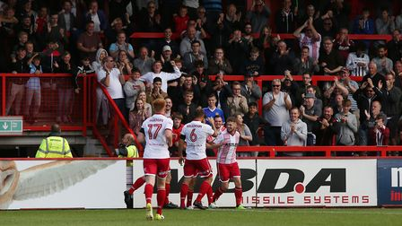 Ben Kennedy and teammates celebrate a goal for Stevenage earlier this season. Picture: Danny Loo