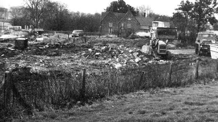 The farm during the demolition of the barns in February 1973. CREDIT: Stevenage Museum.