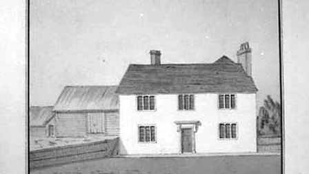 Painting by George Oldfield of the farmhouse, 1804.