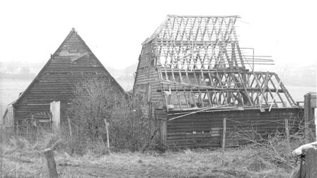 The farm barns in February 1973, prior to demolition. CREDIT: Stevenage Museum.